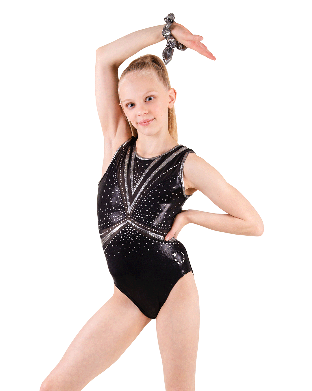 Black and silver gymnastics leotards
