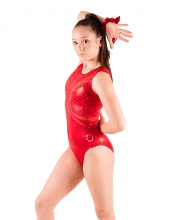 Red gymnastics leotard with Diamantes