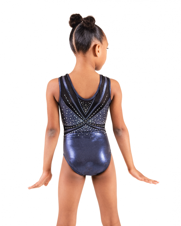 Blue Steel gymnastics leotard with diamantes