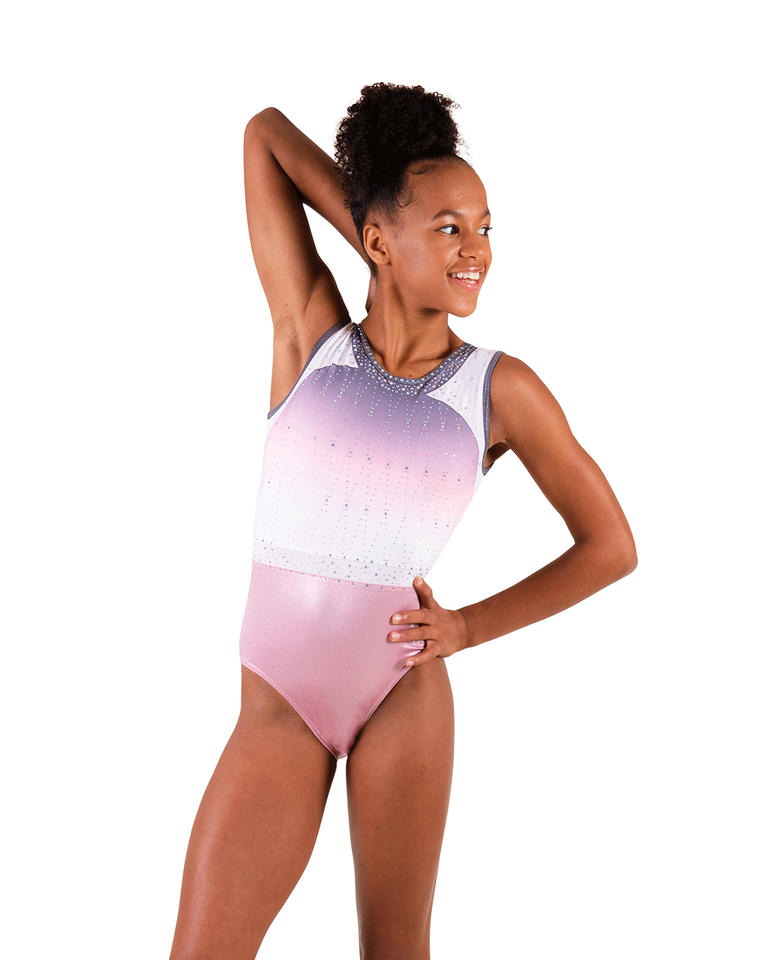 Ombre pink leotard with diamantes