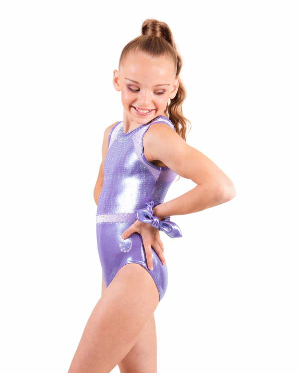 Cute Lilac gymnastics leotard with diamantes