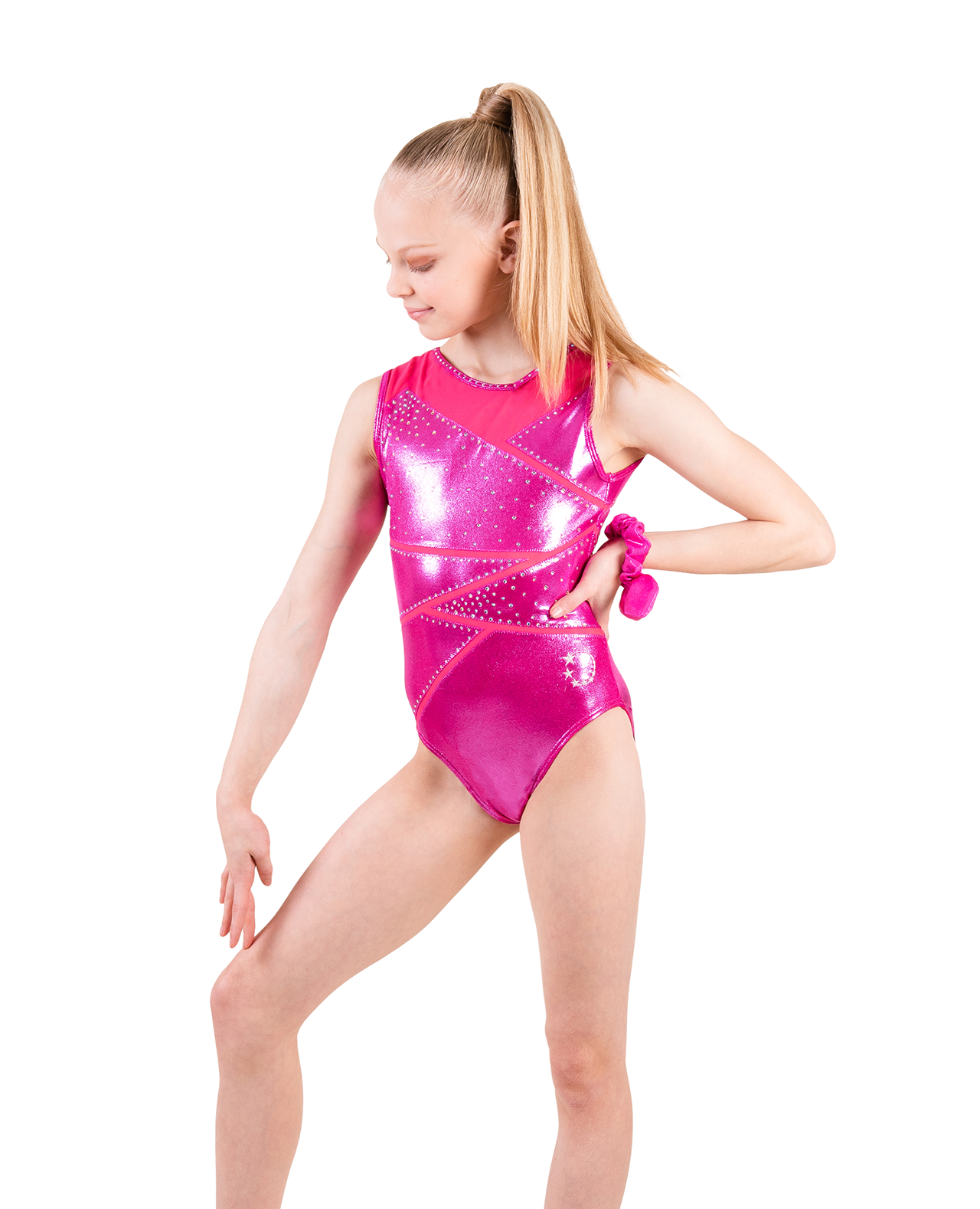 pink gymnastics leotard with strappy back