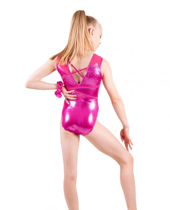pink gymnastics leotard with strappy back
