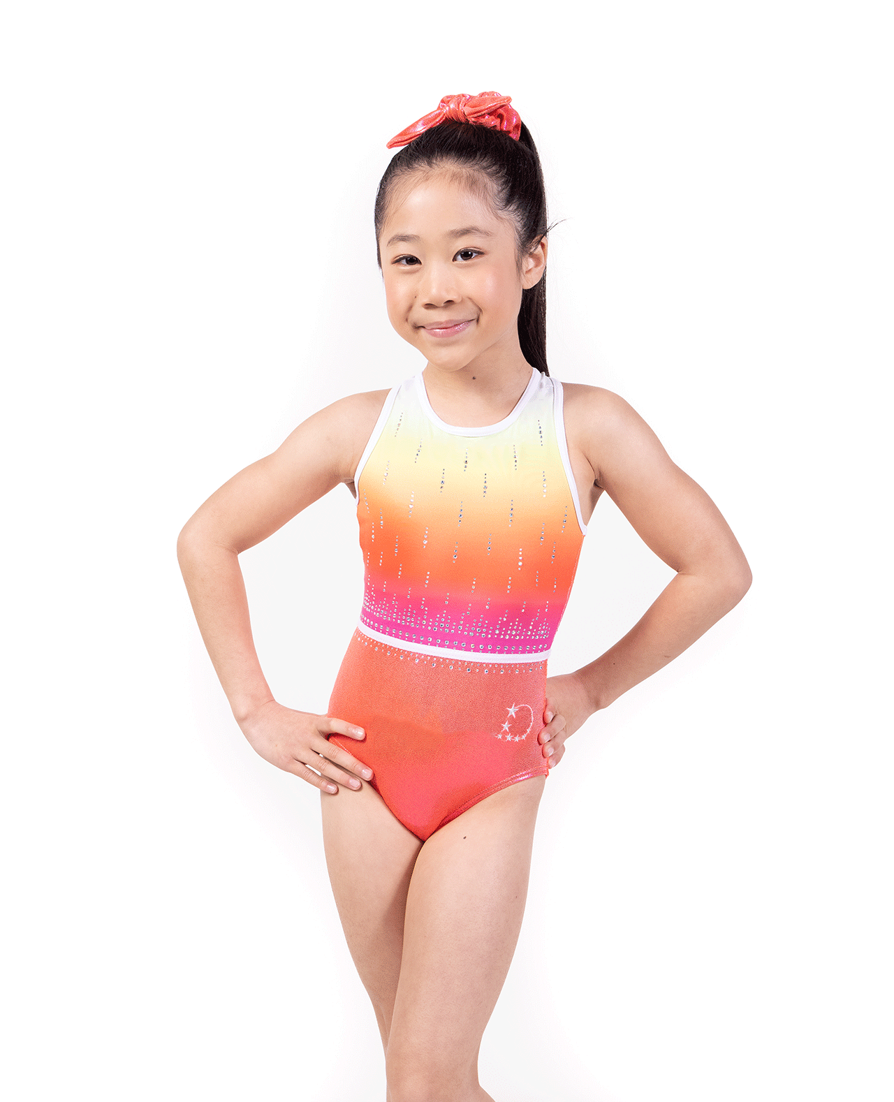 Coral Cross over back leotard