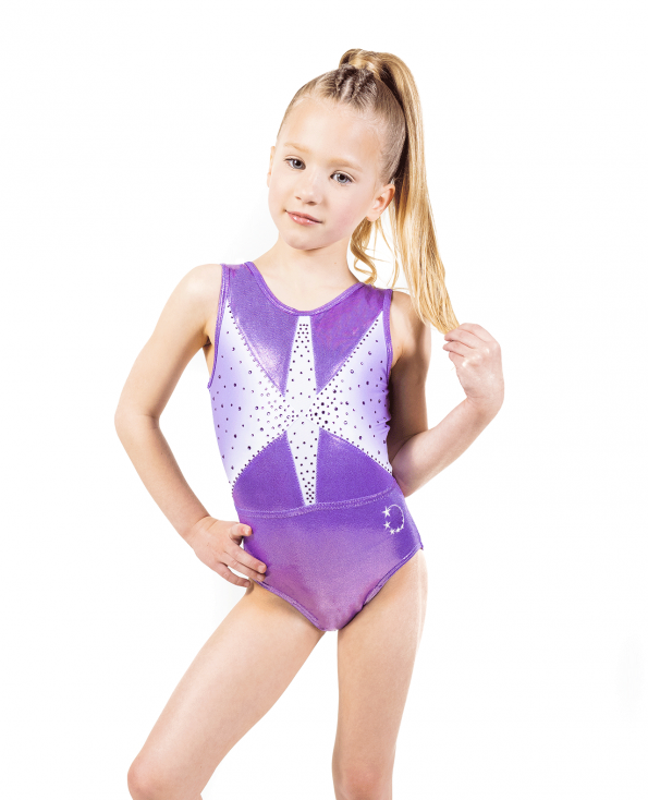 Purple Gathered tie back ombre Leotard