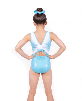 Blue Gathered tie back Leotard
