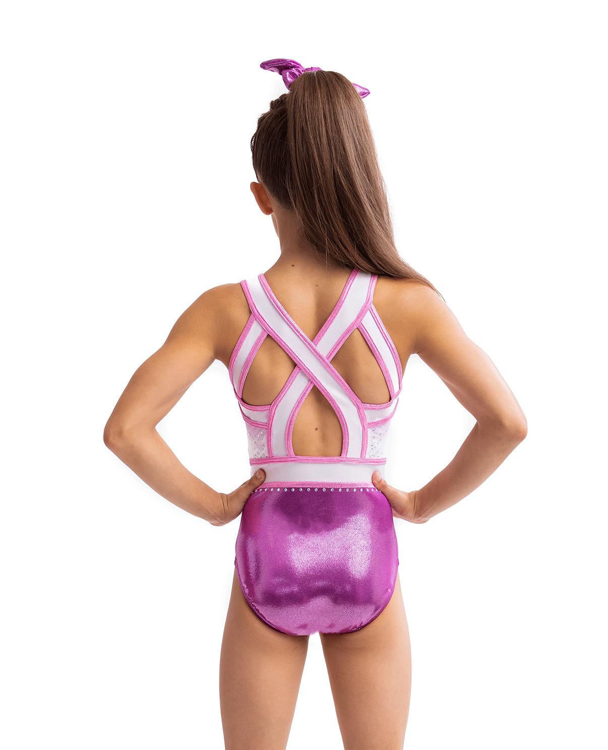 spritzer, open back, cool back, pink, leotard, ombre